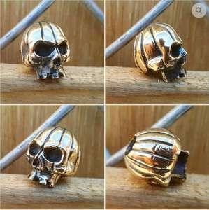 Lion Armory Pumpkin Skull Lanyard Bead in Brass